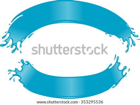 Water Arches Sign-Blank blue liquid banner against white background