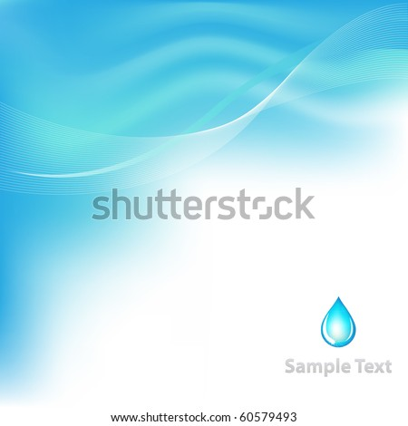 Water Background With Drop, Vector Illustration - stock vector