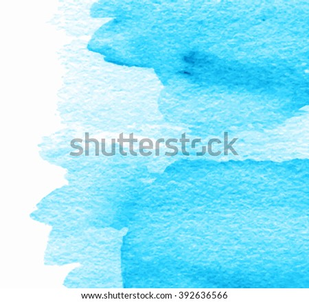 Water blue stroke isolated splash watercolor hand drawn vector card for greeting, decoration, scrapbook, wallpaper, template. Abstract wet brush paint paper grain texture background for design, banner - stock vector