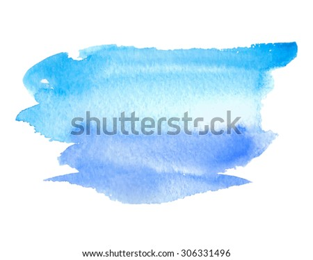 Water blue violet isolated hand drawn stain on white background. Watercolor wet brush painted paper texture abstract vector illustration. Design artistic element for banner, template, print, web - stock vector