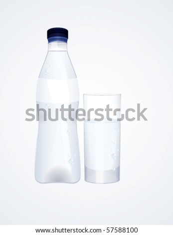 Water bottle and glass, vector - stock vector