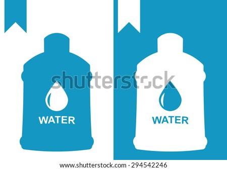 water bottle big logo - stock vector