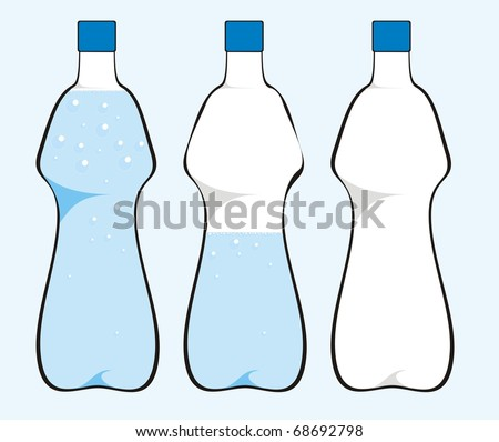 Water bottle isolated on light blue background color vector illustration