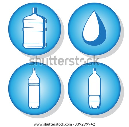 water bottles icons. vector illustration 2 - stock vector