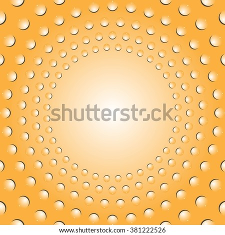 Water bubbles. Water drops on glass.  Yellow Light Abstract background geometrical ornament pattern with water drops. For greeting card, presentation, card, flyer.  Vector illustration. - stock vector