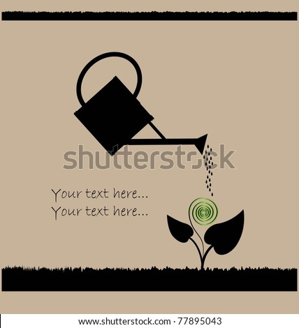 Water can and plant - stock vector