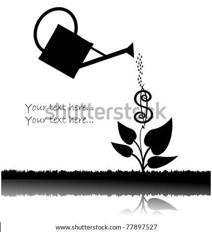 water can  watering plant with dollar - stock vector