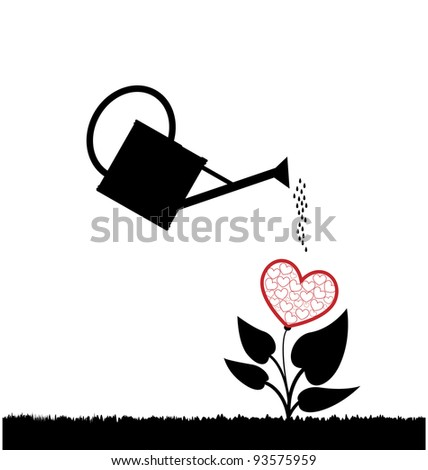 water can  watering plant with heart - stock vector