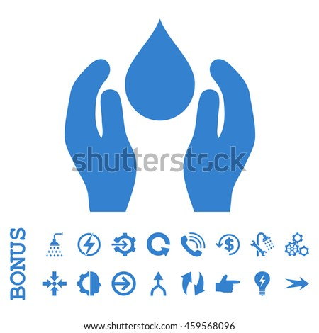 Water Care vector icon. Image style is a flat pictogram symbol, cobalt color, white background.