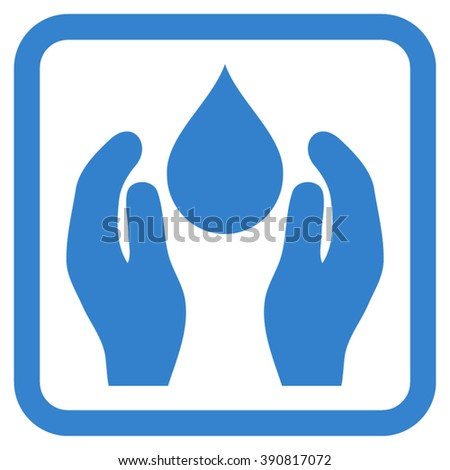 Water Care vector icon. Style is flat symbol in a rounded square frame, cobalt color, white background.