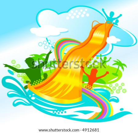 water chute and people having fun - stock vector