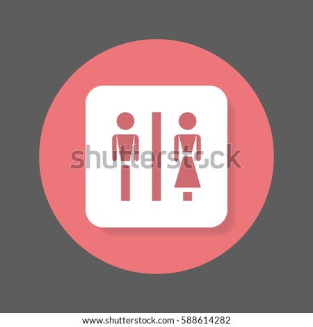 Water Closet Flat Icon. Round Colorful Button, WC, Toilet Circular Vector  Sign With