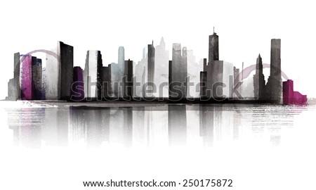 Water Color Skyline - stock vector