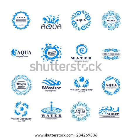Water company aqua mineral logo set with blue waves isolated vector illustration - stock vector