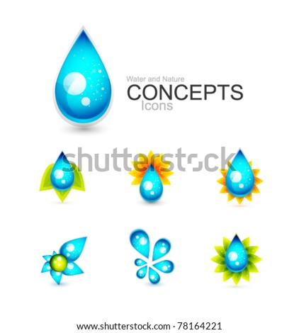 Water concepts. Water drop and nature design elements: leaves and sun - stock vector