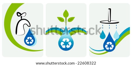 Water conservation and recycling concept. - stock vector