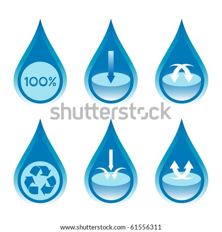 Water conservation and recycling concept set 2. - stock vector