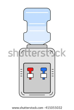 Water cooler. Flat color icon equipment for drinking. Clean water.  - stock vector