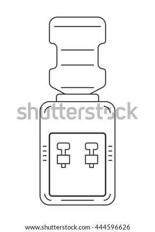 Water cooler. Flat, linear, black, white icon equipment for drinking.  - stock vector