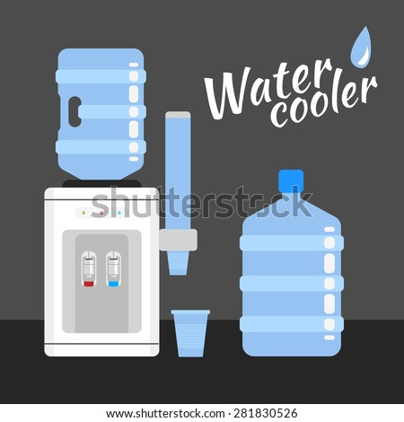 Water cooler. Refreshment and bottle office, plastic and liquid - stock vector