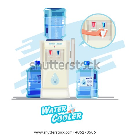 Water cooler, with plastic bottle and paper cup - vector illustration - stock vector