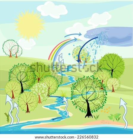 Water cycle in nature - stock vector