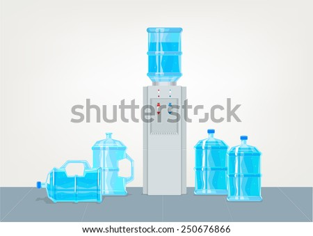 Water Dispenser with Containers. Vector and Jpg. - stock vector