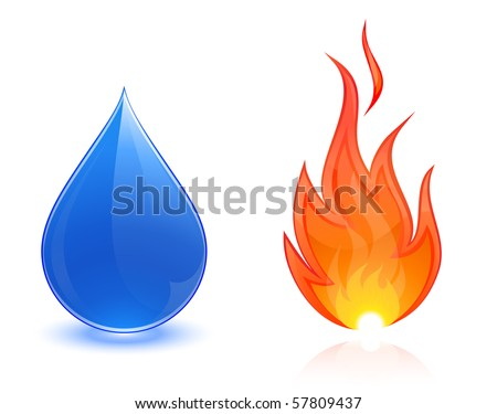 Water drop and fire - stock vector