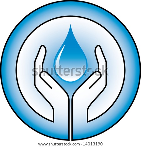 water-drop and hands - stock vector