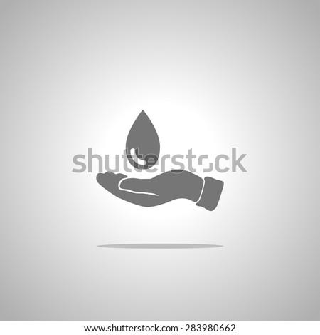 water drop and hands - stock vector