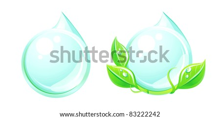 Water drop and plant icons. Eco icons.