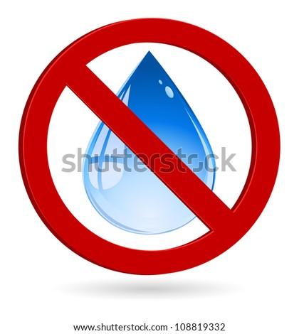 water drop forbidden - stock vector