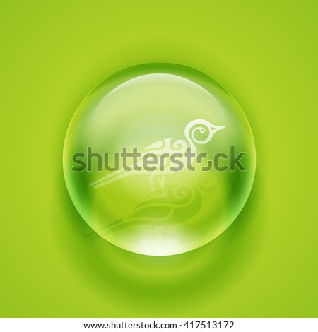 Water drop. Glass sphere. Bubble. Glass ball. Realistic vector illustration EPS. Bird icon. - stock vector