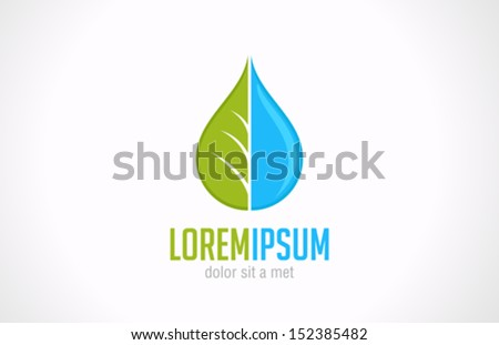 Water drop & green leaf Ecology green vector design logo template. Natural product symbol. Aqua clean idea. Freshness sign icon concept. - stock vector