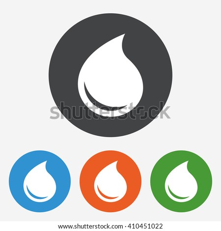 Water drop icon sign. Water drop icon flat design. Water drop icon for app. Water drop icon for logo. Water drop icon picture. Circle buttons with flat icon. Vector - stock vector