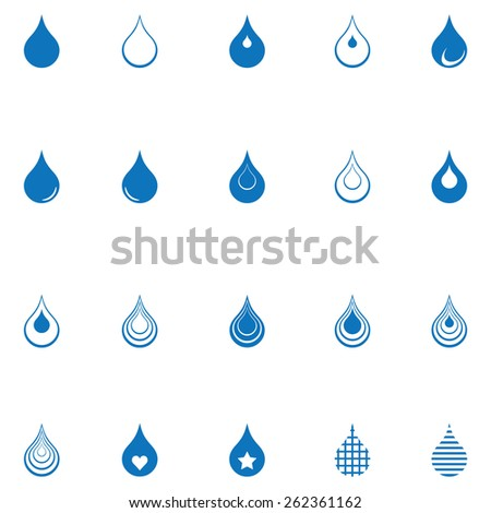 Water Drop Icons - stock vector