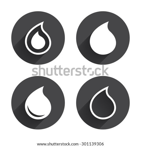 Water drop icons. Tear or Oil drop symbols. Circles buttons with long flat shadow. Vector - stock vector
