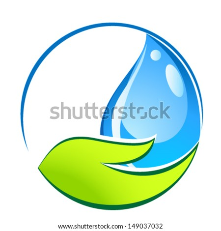 water drop in hand - eco sign - stock vector