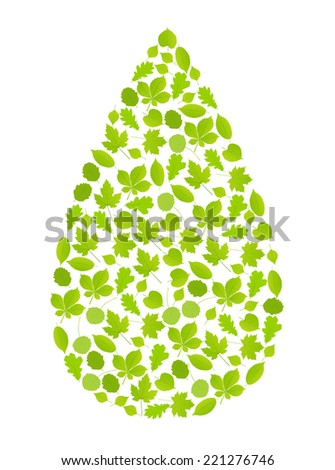 Water drop made with leaves vector ecology background concept - stock vector