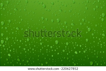 Water Drop On Green Background - stock vector