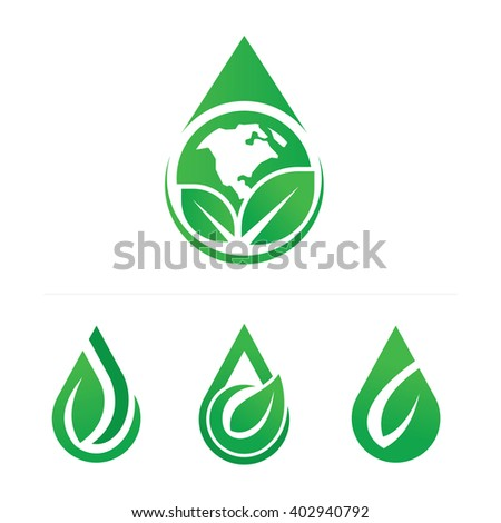 Water Drop shape with leaf icon