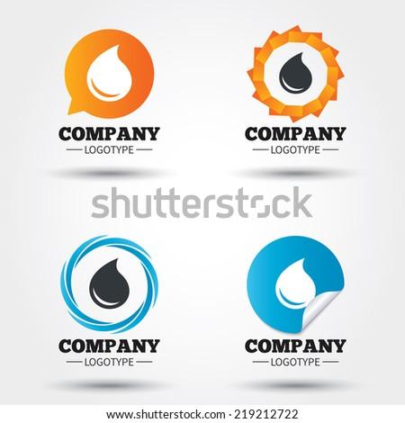 Water drop sign icon. Tear symbol. Business abstract circle logos. Icon in speech bubble, wreath. Vector - stock vector