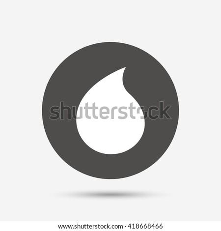 Water drop sign icon. Tear symbol. Gray circle button with icon. Vector - stock vector