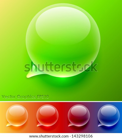 Water drop speech balloon vector template. Easy to change background color, see samples at the bottom. - stock vector