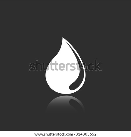 water drop vector icon with mirror reflection - stock vector