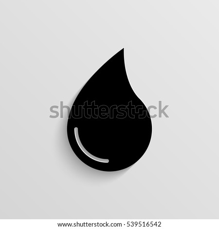 Water drop vector icon with  shadow