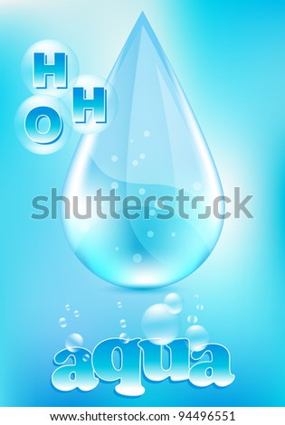 Water drop with water molecules, on light blue background, vector illustration. - stock vector