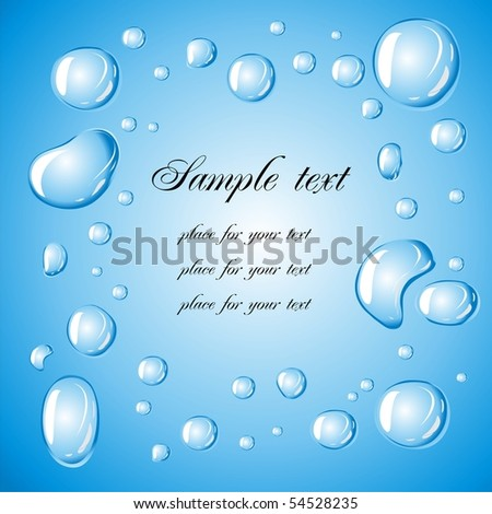 Water droplets on a blue background with place for your text - stock vector