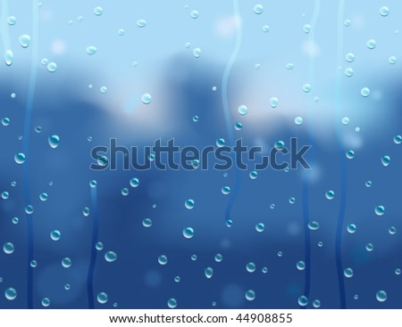 Water Droplets on Window Abstract Vector Background - stock vector