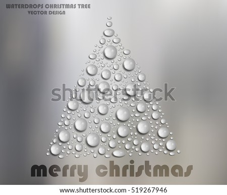 Water Drops Christmas Tree on White Glass - Vector Design